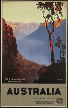 Australia, the Blue Mountains, New South Wales; Creator/Contributor: Northfield, James, 1887-1973 (artist);   Created/Published: Melbourne : Australian National Travel Association (Printed at Northfield Studios & F.W. Niven Pty. Ltd.);   Date issued: 1930-1939 (approximate)