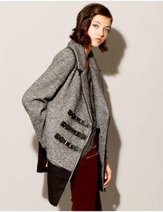 Grey buckle strap coat