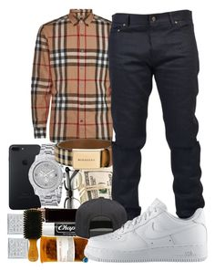 """""""Untitled #105"""" by crenshaw-m4fia ❤ liked on Polyvore featuring Burberry, Yves Saint Laurent, Chapstick, xO Design, Alex and Chloe, NIKE, men's fashion and menswear"""