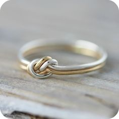 Two strand knot ring  silver and rose or yellow gold filled