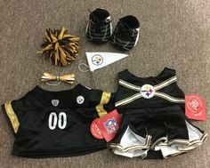 8 Pc Lot of #STEELERS BUILD A BEAR Clothes and Accessories- Cheerleader Football  #BuildaBear FOR SALE ON EBAY!