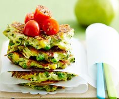 Zucchini and cheese fritters recipe - By Australian Women& Weekly, These delicious zucchini and cheese fritters are perfect for breakfast, lunch or dinner. Serve them with your favourite dip for a tasty lunch-box treat. Vegetable Recipes, Vegetarian Recipes, Cooking Recipes, Healthy Recipes, Weekly Recipes, Vegetable Dishes, Lunch Recipes, Healthy Snacks, Savoury Recipes