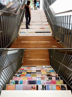 Ikea floor decal ad. Very creative. Each stair is a drawer filled with clothes!  Contact us to have one of our designers create a floor graphic for your business at www.ssar.com