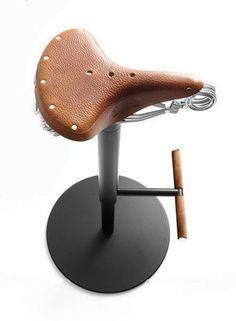 Take a couple seats: the Bike Stool by Bross with a Brooks leather saddle.