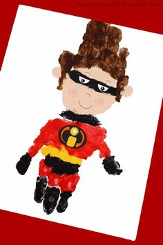 Superhero handprint Craft - The Incredibles 2 superhero activity Superhero handprint Craft for kids. A fun 'The Incredibles movie superhero activity for toddlers and preschoolers Disney Activities, Art Activities For Kids, Craft Projects For Kids, Arts And Crafts Projects, Art For Kids, Disney Crafts For Kids, Craft Ideas, Hero Crafts, Cute Crafts