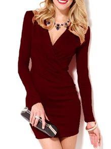 Deep V Neck Long Sleeve Bodycon Wine Red Dress