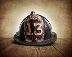 Vintage Fireman helmet 12 Sizes Available from Print to Mounted Canvas #homedecor #wallart #photoprints #canvasprints #saintandsailor #photography #boysroom #vintage #boysnursery #rustic #firefighter #bedroomdecor