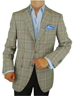 Gino Valentino Made in Italy Wool Silk 2 Button Blazer Ticket Pocket Gray