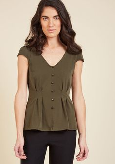 Authentically Alluring Top Button-Up Top in Olive in 3X, #ModCloth