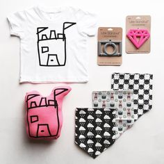 Baby essentials perfection!  Shirt + plushie: Bubblegum Forest Teethers: Little Standout Bibs: Whistle & Flute
