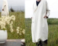 246White Wool Coat Japanese Boiled Wool Long Wrap Coat by EDOA