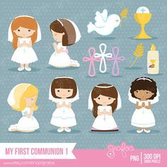 MY FIRST COMMUNION 1 Digital Clipart First  Communion by grafos, $5.00