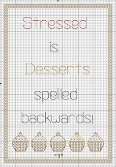 Free Stressed is Desserts Spelled Backwards Cross Stitch Pattern