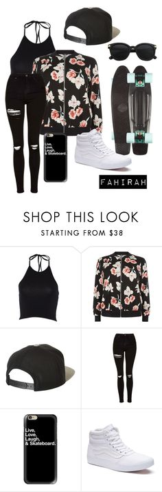"""""""Skater"""" by fahirahsaid ❤ liked on Polyvore featuring New Look, Brixton, Topshop, Casetify and Vans"""