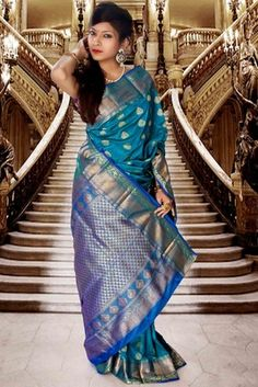 Blue pure silk zari weaved saree with royal blue pallu Buy Now @ Rs 8150