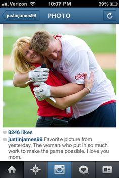JJ Watt hugging his mamma