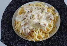 Spaghete cu sos alb | Click! Pofta Buna! Bacon, Paste, Food And Drink, Ethnic Recipes