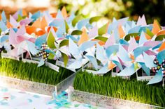 name cards w/ pinwheels on grass