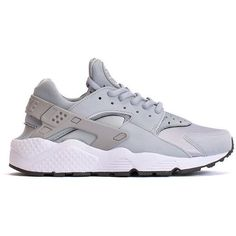 WMNS Air Huarache Run (Wolf Grey) ($100) ❤ liked on Polyvore featuring shoes, athletic shoes, huaraches, sneakers, grey shoes, american shoes and gray shoes
