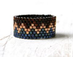 Modern beaded ring. Seed bead ring. Ring made with Miyuki delica seed beads. Band width - 8 mm Custom size. More peyote rings (seed bead rings) from my shop you can see here: https://www.etsy.com/shop/HappyBeadwork?section_id=18818205