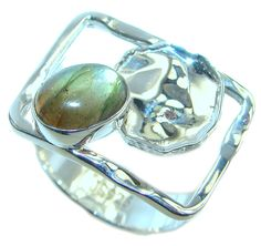 $35.55 Blue+Aura+AAA+Fire+Labradorite++Sterling+Silver+ring+size+7+1/4 at www.SilverRushStyle.com #ring #handmade #jewelry #silver #labradorite