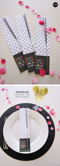 Free Sparkler Favour Tags for New Year's Eve | TOMFO Love the words, Never stop making wishes! Perfect for a place setting or stash on a tray for the kids to celebrate when the clock strikes 12. And the best bit it's a free printable.