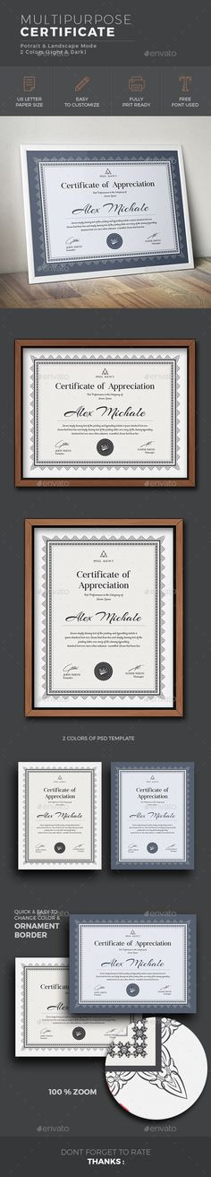 #Certificate - Certificates #Stationery Download here:  https://graphicriver.net/item/certificate/18895540?ref=alena994