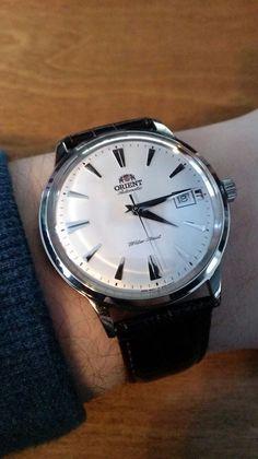 Orient Bambino Watch - silver & dark brown leather