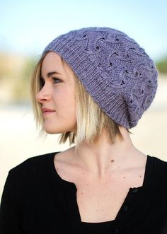 f4a2722bb1d Woolly Wormhead - QL Slouch - reversible lace Hat knitting pattern- Want  this pattern!