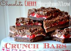 Chocolate-Cherry-Marshmallow-Crunch-Bars-Recipe: http://www.momontimeout.com/2013/02/chocolate-cherry-marshmallow-crunch-bars/