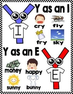 """Introduce your students to the """"Y"""" twins. I and E are twin brothers with different sounds. Use these cute y as a vowel activities to familiarize your students with the sound that each one makes. Phonics Reading, Teaching Phonics, Teaching Reading, Fun Learning, Teaching Kids, Learning Spanish, Teaching Resources, Phonics Chart, Phonics Rules"""