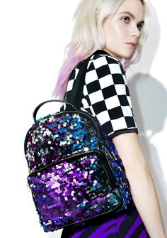 Celestial Levels Sequin Backpack cuz yer shine can't be measured by earthly means, bb!! This adorable backpack features a beautiful multicolored sequin construction, ultra roomy boxy shape, top zip closure, front pouch pocket, and adjustable shoulder straps.