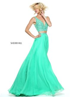 Two-piece chiffon with a beaded v-neck bodice.