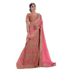 Navratri Wear Georgette Net Pink Lehenga Saree - RKLP4117