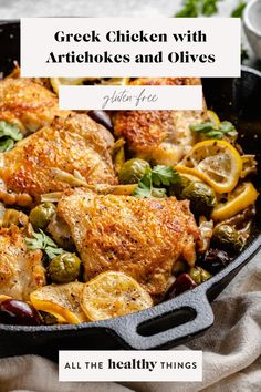 This one pan Greek chicken with artichokes and olives is the perfect recipe when you need a quick weeknight dinner meal. The combination of crispy chicken, briny olives, flavorful marinated artichokes, and fresh lemon just can't be beat. Quick Weeknight Dinners, Easy Meals, Fall Recipes, Dinner Recipes, Tandoori Chicken, Crispy Chicken, Greek Chicken, 30 Minute Meals, Good Healthy Recipes