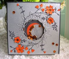 By  Bibiana: Shaker card with the colors of the San Francisco Giants. Whirligig circle die.