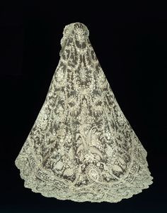"""The detail in this is amazing! Veil with Russian Imperial Family Coat of Arms, Late 19th century Cotton, needle lace of a type known as """"Point de Gaze"""" 225 x 183.6 cm (88 1/2 x 72 1/4 in.)"""