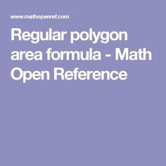 Regular polygon area formula - Math Open Reference