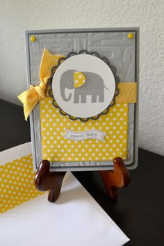 Sweet Baby Elephant Card by TheRoundedCorner on Etsy