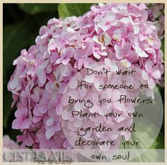 Don't wait for someone to bring you flowers