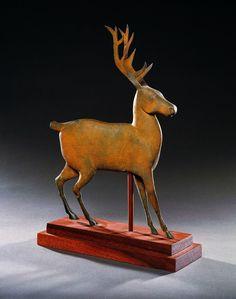 Miniature Deer Weathervane, The American Folk Art Museum. Attributed to J. Howard & Company, West Bridgewater, Massachusetts c. 1852–1867. Paint on zinc.
