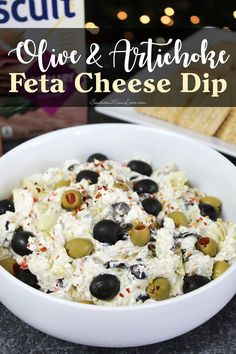 Southern Mom Loves: Olive & Artichoke Feta Cheese Dip Recipe It's so easy to make, just a little chopping and mixing, but the result is a tangy, creamy, salty olive masterpiece that we just couldn't keep our hands off of! Appetizer Dips, Yummy Appetizers, Appetizers For Party, Best Appetizer Recipes, Feta Dip, Cheese Dip Recipes, Cheese Dips, Milk Recipes, Healthy Dip Recipes
