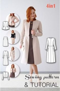 Transformable Coat Sewing Pattern - Coat Patterns - Jacket Patterns - Bolero Pattern - Skirt Patterns - Blazer Pattern - Sewing Tutorials - Sewing E-book, Clever!Schnittmuster - Mantelmuster - Jackenmuster - Bolero-Muster - Rock… Source by barschoe Coat Pattern Sewing, Blazer Pattern, Coat Patterns, Jacket Pattern, Pdf Sewing Patterns, Sewing Tutorials, Clothing Patterns, Dress Patterns, Pattern Skirt