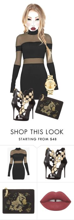 """Untitled #6475"" by mrsmayweather ❤ liked on Polyvore featuring Balmain, Giuseppe Zanotti, Lime Crime and Movado"