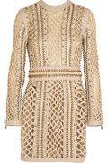Woven silk and leather mini dress | Balmain | FR | THE OUTNET