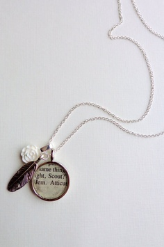i want this!!!   Jem Scout and Atticus.  To Kill a Mockingbird Necklace. Silver Feather.. $20.00, via Etsy.