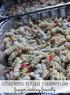 Chicken Rotini Casserole Freezer Cooking-- Make your life easier with freezer cooking recipes!  Prepare a batch or two of this casserole while the kids are at school, and freeze for next week's dinner!