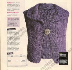 Easy Sweater Knitting Patterns, Knit Vest Pattern, Knitting Stiches, Loom Knitting Patterns, Embroidery On Clothes, Knitting Accessories, Knitting For Kids, Knit Or Crochet, Knitted Shawls