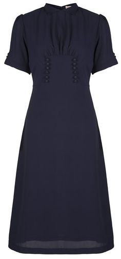 Lindy Bop 'Amelia' Vintage WW2 1940's Landgirl Tea Dress (XS, Navy Blue)