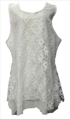 AKH Fashion Lagenlook Tunika Top zweilagig mit Spitze in weiß XL Mode bei www.modeolymp.lafeo.de